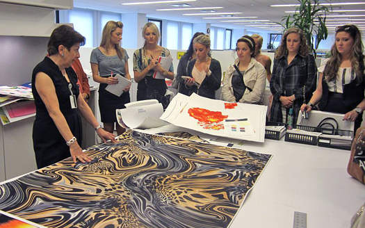 Students meeting with art director at Jones Group